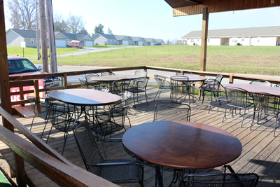 Patio seating at Midland Inn